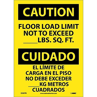Caution, Floor Load Limit Not To Exceed __Lb. Sq. Ft. Bilingual, 14X10, Adhesive Vinyl