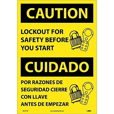 Caution, Lockout For Safety Before You Start (Bilingual), 20X14, Adhesive Vinyl