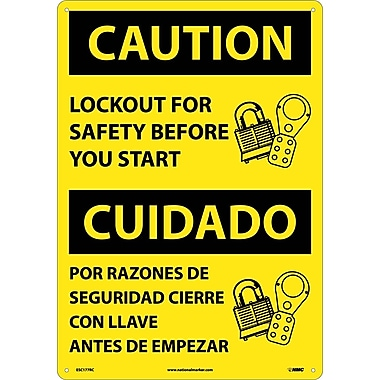 Caution, Lockout For Safety Before You Start (Bilingual), 20X14, Rigid Plastic