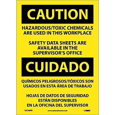 Caution, Hazardous Toxic Chemicals Are Use (Bilingual), 14X10, Adhesive Vinyl
