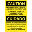 Caution, Hazardous Toxic Chemicals Are Use (Bilingual), 20X14, Adhesive Vinyl