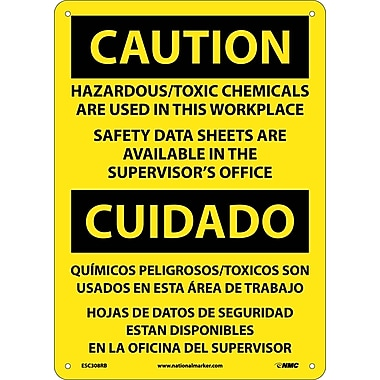 Caution, Hazardous Toxic Chemicals Are Use (Bilingual), 14X10, Rigid Plastic