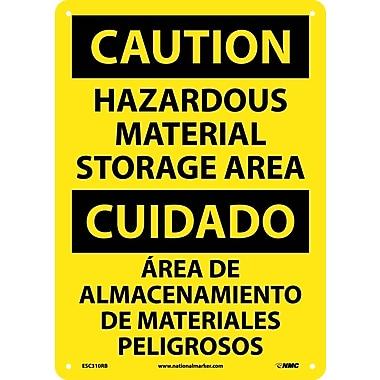 Caution, Hazardous Material Storage Area Bilingual, 14X10, Rigid Plastic