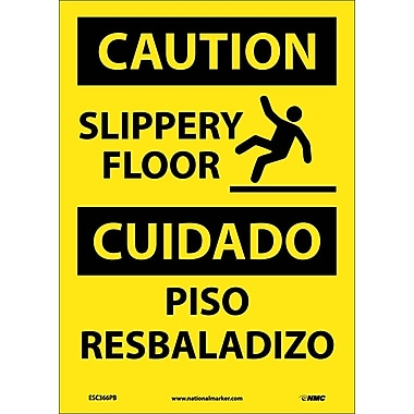 Caution, Slippery Floor Bilingual, Graphic, 14X10, Adhesive Vinyl