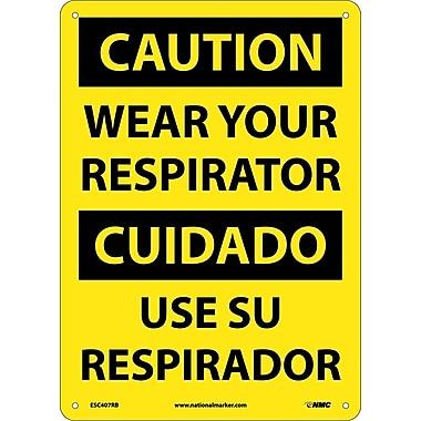 Caution, Wear Your Respirator (Bilingual), 14X10, Rigid Plastic