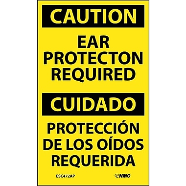 Labels - Caution, Ear Protection Required Bilingual, 5X3, Adhesive Vinyl,5/Pk