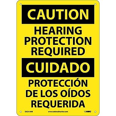 Caution, Hearing Protection Required Bilingual, 14X10, .040 Aluminum