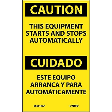Labels - Caution, This Equipment Starts And Stops Automatically Bilingual, 5X3, Adhesive Vinyl