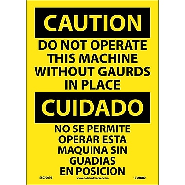 Caution, Do Not Operate Machine Without Guards In Place Bilingual, 14X10, Adhesive Vinyl