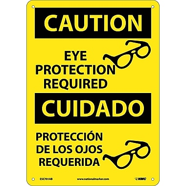 Caution, Eye Protection Required, (Graphic), Bilingual, 14X10, .040 Aluminum