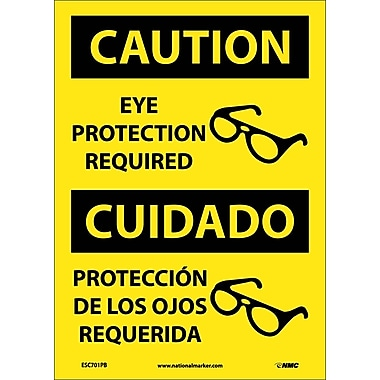 Caution, Eye Protection Required, (Graphic), Bilingual, 14X10, Adhesive Vinyl