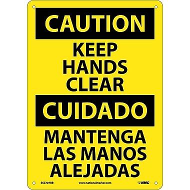 Caution, Keep Hands Clear, Bilingual, 14X10, Rigid Plastic