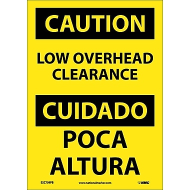Caution, Low Overhead Clearance, Bilingual, 14X10, Adhesive Vinyl