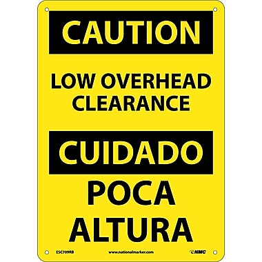 Caution, Low Overhead Clearance, Bilingual, 14X10, Rigid Plastic