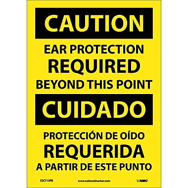 Caution, Ear Protection Required Beyond This Point, Bilingual, 14X10, Adhesive Vinyl