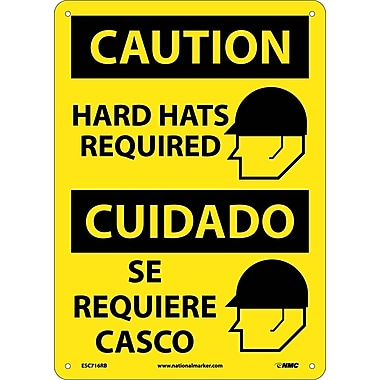 Caution, Hard Hats Required (Graphic), Bilingual, 14X10, Rigid Plastic