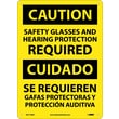 Caution, Safety Glasses And Hearing Protection Required, Bilingual, 14X10, .040 Aluminum