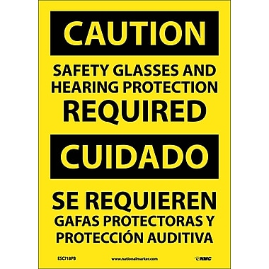 Caution, Safety Glasses And Hearing Protection Required, Bilingual, 14X10, Adhesive Vinyl