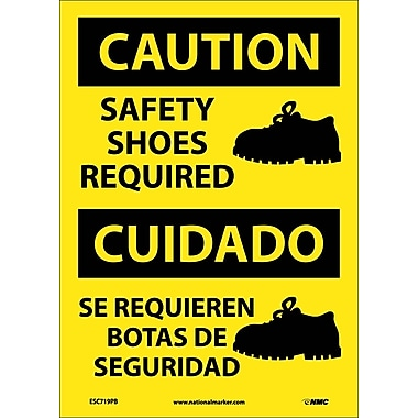 Caution, Safety Shoes Required (Graphic), Bilingual, 14X10, Adhesive Vinyl