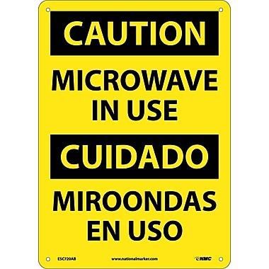 Caution, Microwave In Use, Bilingual, 14X10, .040 Aluminum