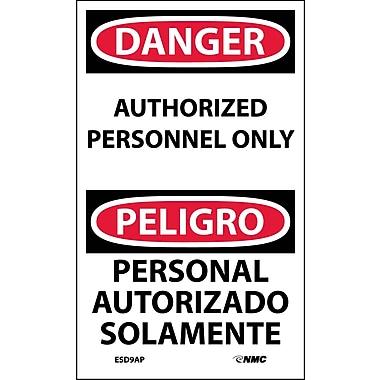 Labels - Danger, Authorized Personnel Only Bilingual, 5X3, Adhesive Vinyl, 5/Pk