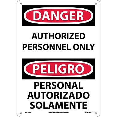 Danger, Authorized Personnel Only Bilingual, 14X10, Rigid Plastic
