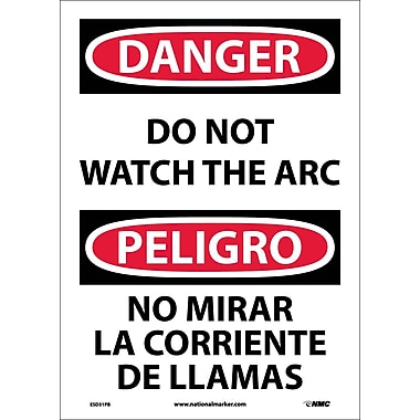 Danger, Do Not Watch The Arc (Bilingual), 14X10, Adhesive Vinyl