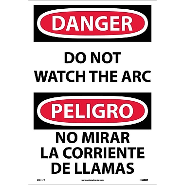 Danger, Do Not Watch The Arc (Bilingual), 20X14, Adhesive Vinyl