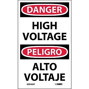 Labels - Danger, High Voltage Bilingual, 5X3, Adhesive Vinyl, 5/Pk
