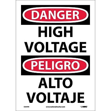 Danger, High Voltage (Bilingual), 14X10, Adhesive Vinyl