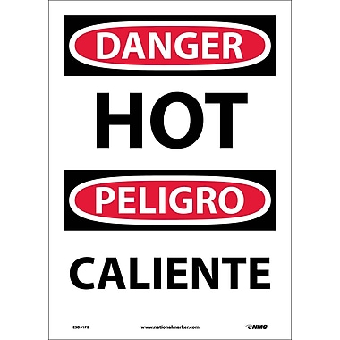 Danger, Hot (Bilingual), 14X10, Adhesive Vinyl