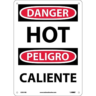 Danger, Hot (Bilingual), 14X10, Rigid Plastic