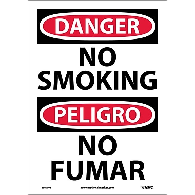 Danger, No Smoking (Bilingual), 14X10, Adhesive Vinyl