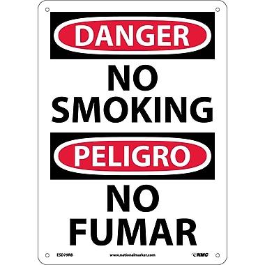 Danger, No Smoking (Bilingual), 14X10, Rigid Plastic