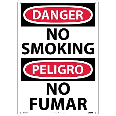 Danger, No Smoking (Bilingual), 20X14, Rigid Plastic