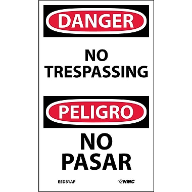 Labels - Danger, No Trespassing, Bilingual, 5X3, Adhesive Vinyl, 5/Pk