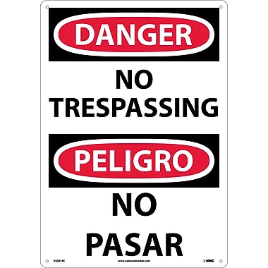 Danger, No Trespassing (Bilingual), 20X14, Rigid Plastic