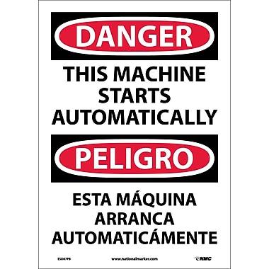 Danger, This Machine Starts Automatically (Bilingual), 14X10, Adhesive Vinyl