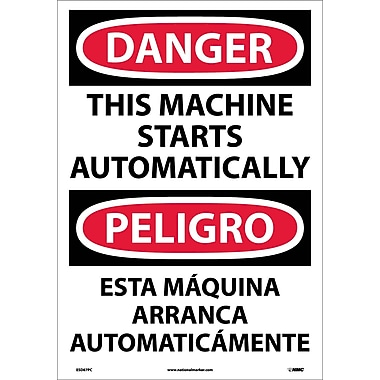 Danger, This Machine Starts Automatically (Bilingual), 20X14, Adhesive Vinyl