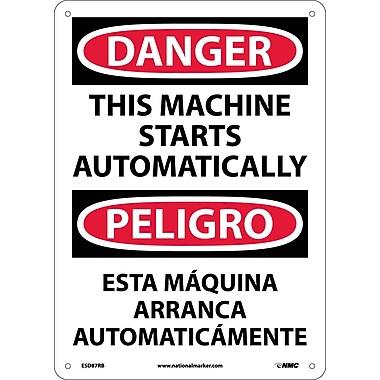 Danger, This Machine Starts Automatically (Bilingual), 14X10, Rigid Plastic
