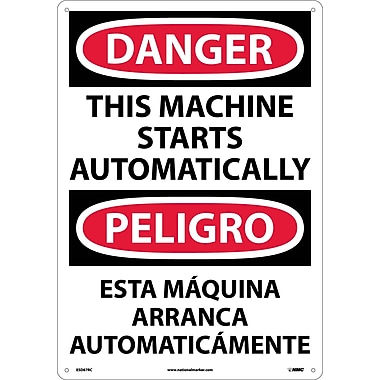 Danger, This Machine Starts Automatically (Bilingual), 20X14, Rigid Plastic