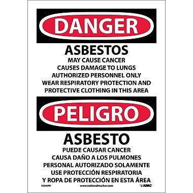 Danger, Asbestos Cancer And Lung Disease. . . (Bilingual), 14X10, Adhesive Vinyl