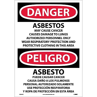 Danger, Asbestos Cancer And Lung Disease. . . (Bilingual), 20X14, Adhesive Vinyl