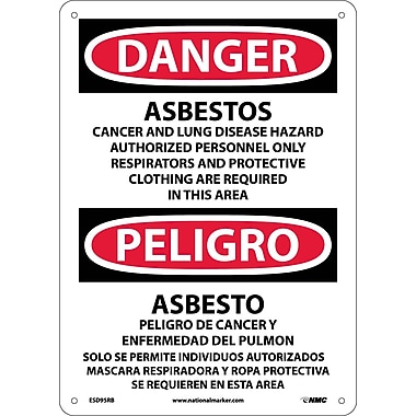 Danger, Asbestos Cancer And Lung Disease. . . (Bilingual), 14X10, Rigid Plastic