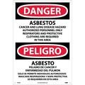 Danger, Asbestos Cancer And Lung Disease. . . (Bilingual), 20X14, Rigid Plastic