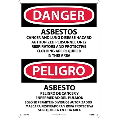 Danger, Asbestos Cancer And Lung Disease. . . (Bilingual), 20X14, Rigid Plastic