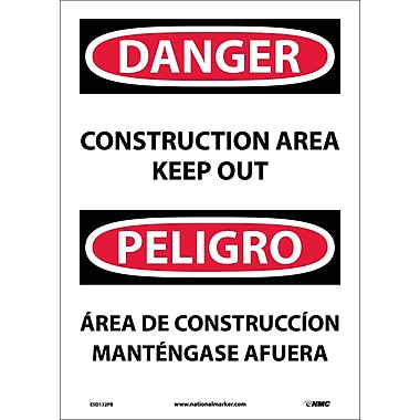 Danger, Construction Area Keep Out Bilingual, 14X10, Adhesive Vinyl
