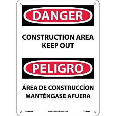 Danger, Construction Area Keep Out Bilingual, 14X10, Rigid Plastic