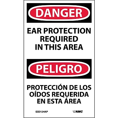 Labels - Danger, Ear Protection Required In This Area Bilingual, 5X3, Adhesive Vinyl, 5/Pk