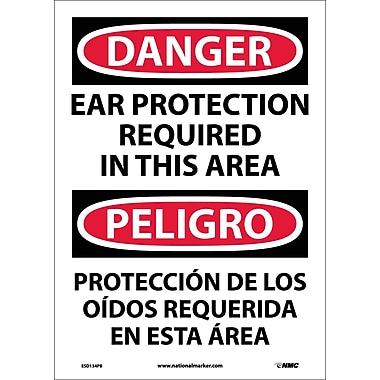 Danger, Ear Protection Required In This Area Bilingual, 14X10, Adhesive Vinyl